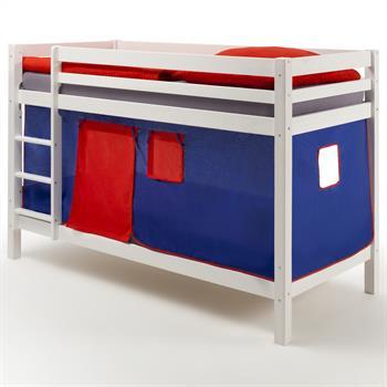 Lits superposés en pin lasuré blanc MAX avec rideaux, bleu/rouge