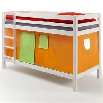 Lits superposés en pin lasuré blanc MAX avec rideaux, orange/vert