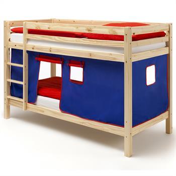 Lits superposés en pin vernis naturel MAX avec rideaux, bleu/rouge