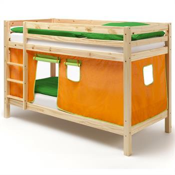 Lits superposés en pin vernis naturel MAX avec rideaux, orange/vert