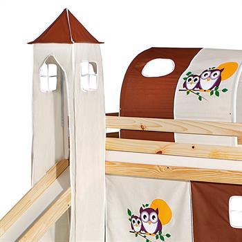 Donjon pour lit surélevé avec toboggan, motif Hiboux