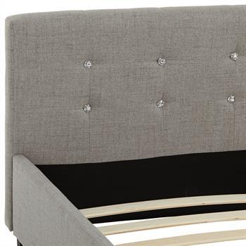 Lit double JOSY, 140 x 190 cm, capitonné avec sommier, revêtement en tissu gris
