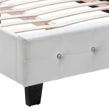 Lit simple VERONIKA, 120 x 200 cm, capitonné avec sommier, revêtement synthétique blanc