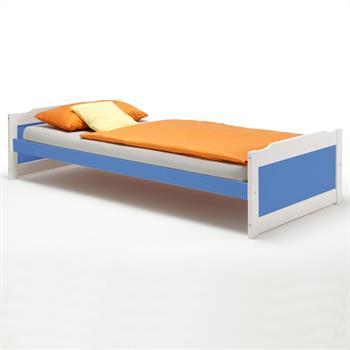 Lit en pin FRITZ, 90 x 200 cm, lasuré blanc bleu