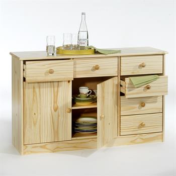 Buffet en pin RONDO, 2 portes + 6 tiroirs, vernis naturel