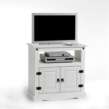 Meuble TV en pin TEQUILA, 2 portes + 1 niche lasuré blanc