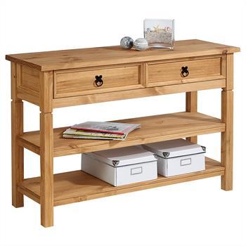 Table console en pin TEQUILA style mexicain, 1 tiroir et 2 étagères, finition teintée/cirée