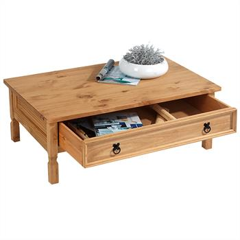 Table basse en pin TEQUILA style mexicain, 1 tiroir