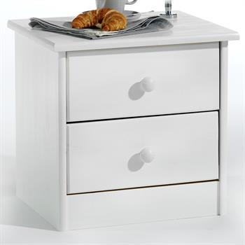 Table de chevet en pin RONDO, lasuré blanc