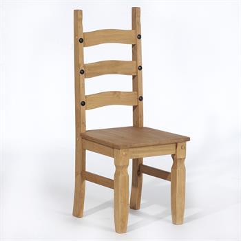 Lot de 2 chaises en pin TEQUILA style mexicain, finition cirée
