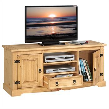 Meuble TV en pin TEQUILA, 2 portes et 1 tiroir, finition teintée/cirée