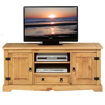 Meuble TV en pin TEQUILA, 2 portes et 1 tiroir, finition cirée