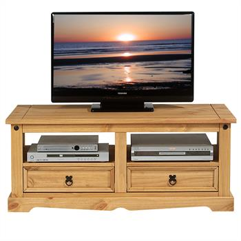 Meuble TV en pin TEQUILA, 2 tiroirs, finition cirée