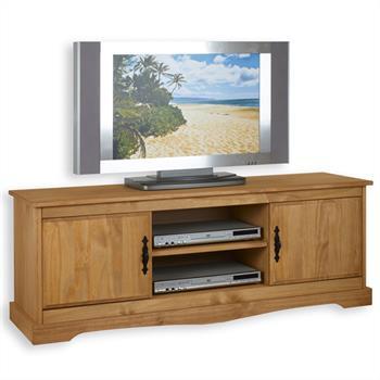 Meuble TV en pin SANTIAGO, finition cirée