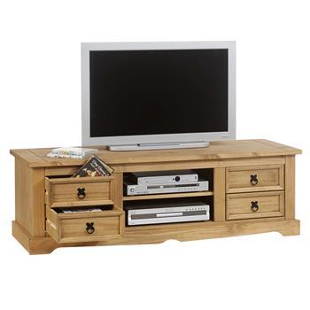Meuble TV en pin TEQUILA style mexicain, 4 tiroirs