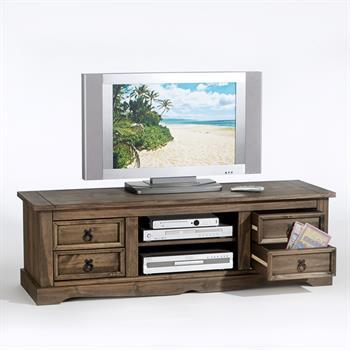Meuble TV en pin TEQUILA, 4 tiroirs + 2 niches lasuré marron patiné