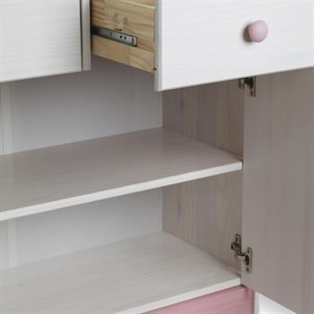 Buffet en pin RONDO, lasuré blanc et rose