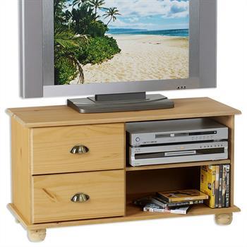 Meuble TV en pin COLMAR, 2 tiroirs + 2 niches, finition cirée