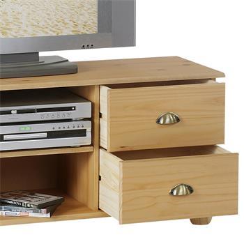 Meuble TV en pin COLMAR, 4 tiroirs + 2 niches, finition cirée