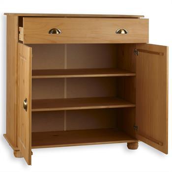 Buffet en pin COLMAR, 1 tiroir + 2 portes, finition cirée