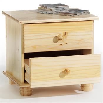 Table de chevet en pin BERN, vernis naturel