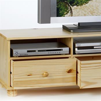 Meuble TV en pin BERN, 3 tiroirs + 3 niches, vernis naturel