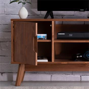 Meuble TV TIVOLI, 2 portes et 2 niches, en pin massif lasuré brun foncé