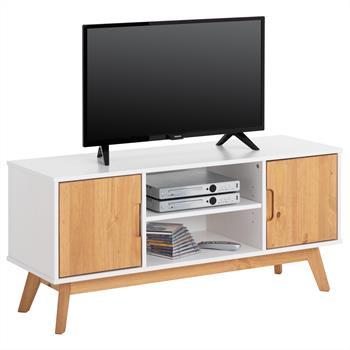 Meuble TV TIVOLI, 2 portes et 2 niches, lasuré blanc et finition teintée
