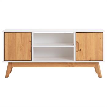 Meuble TV TIVOLI, 2 portes et 2 niches, lasuré blanc et finition bois teinté
