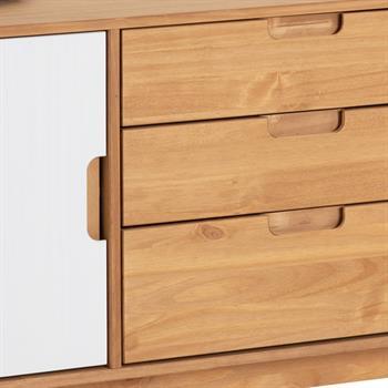 Buffet TIVOLI, 3 tiroirs et 2 portes, finition teintée et lasuré blanc