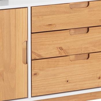 Buffet TIVOLI, 3 tiroirs et 2 portes, lasuré blanc et finition teintée