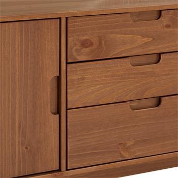 Buffet TIVOLI, 3 tiroirs et 2 portes, lasuré brun foncé