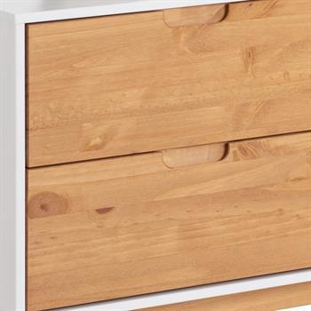 Buffet TIVOLI, 2 tiroirs et 2 portes, lasuré blanc et finition teintée
