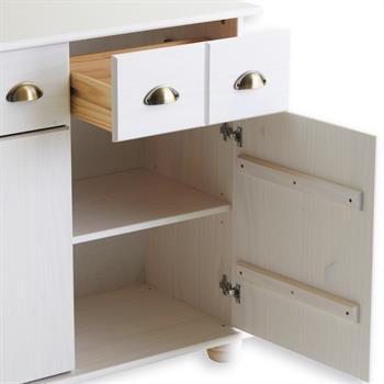 Buffet COLMAR en pin massif, 3 tiroirs et 3 portes, lasuré blanc