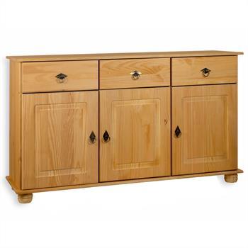 Buffet en pin BELFORT, 3 tiroirs + 3 portes, finition cirée