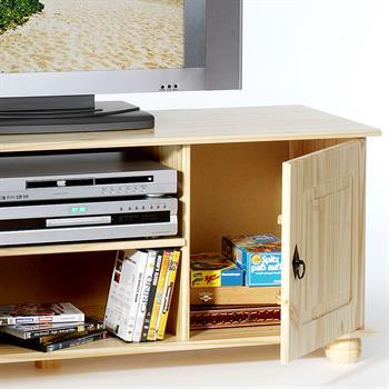 Meuble TV en pin BELFORT, 2 portes + 2 niches, vernis naturel