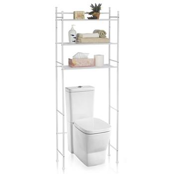 Etagère de salle de bain LAVADORA, rangement pour WC/lave-linge, en métal blanc