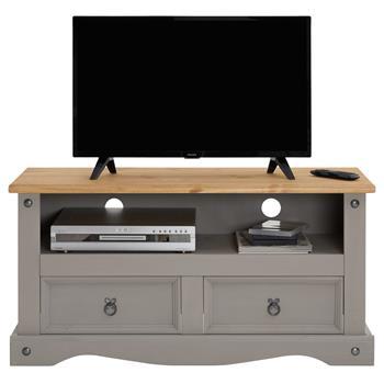 Meuble TV RAMON avec 2 tiroirs, style mexicain en pin massif gris et brun