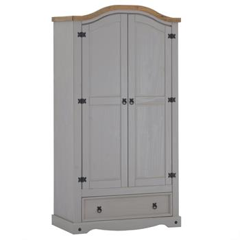 Armoire RAMON avec 2 portes et 1 tiroir, style mexicain en pin massif gris et brun