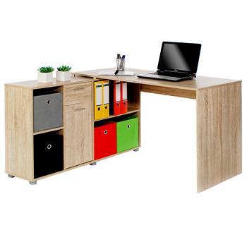 Bureau d'angle CARMEN, pivotant avec meuble de rangement, décor chêne sonoma