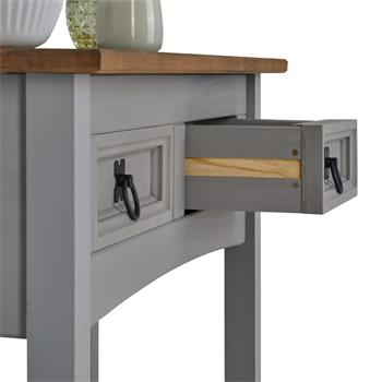 Table console RAMON avec 2 tiroirs, style mexicain en pin massif gris et brun