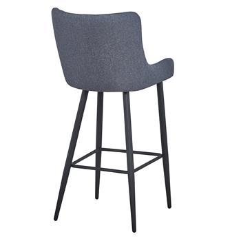 Lot de 2 tabourets de bar PRETORIA, fauteuils rembourrés en tissu gris et 4 pieds en métal noir