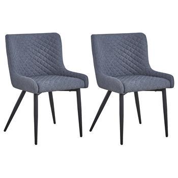 Lot de 2 chaises TAMPERE, fauteuils rembourrés en tissu gris et 4 pieds en métal noir