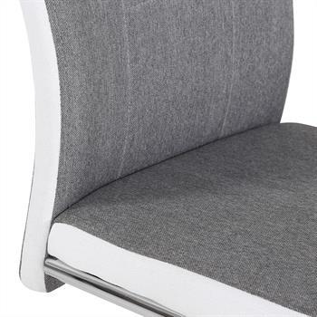 Lot de 4 chaises ALBA, en tissu gris et blanc