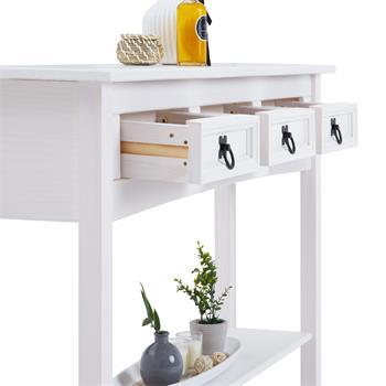 Table console RURAL avec 3 tiroirs, style mexicain en pin massif blanc