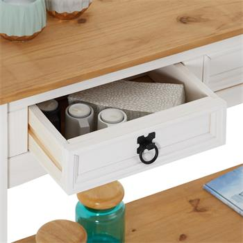 Table console CAMPO avec 3 tiroirs, style mexicain en pin massif blanc et brun