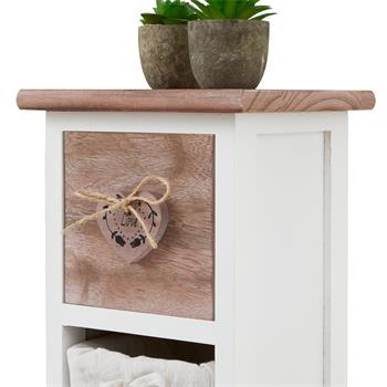 Chiffonnier FLOWER avec 1 tiroir et 3 paniers, en bois de paulownia blanc et brun