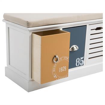 Banc de rangement TRIENT, 3 casiers blanc orange et bleu