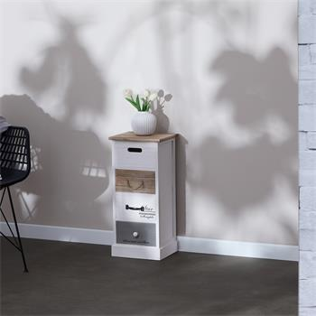 Chiffonnier SALVA avec 4 tiroirs, en bois blanc brun et gris