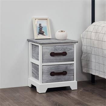 Table de chevet SALERNO, 2 tiroirs, gris blanc